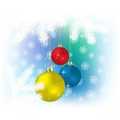 Natale colore sfere e fiocchi di neve sfondo vettoriale — Vettoriale Stock