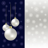 Christmas balls and snowflakes on a grey background — Stock Vector