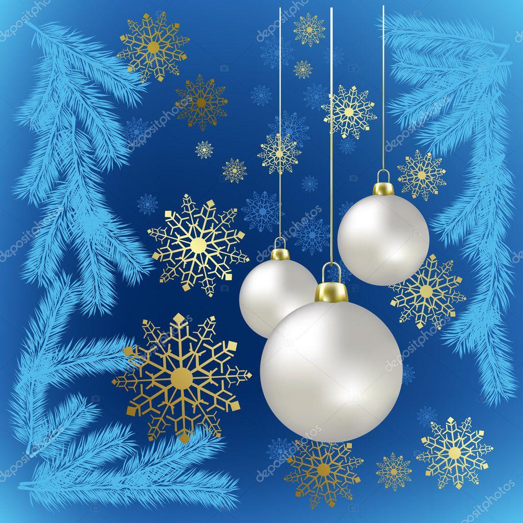 Bolas de navidad y copos de nieve oro sobre fondo azul for Dibujos de navidad bolas