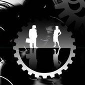 Abstract cogwheels man woman — Stock Vector