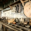 Stock Photo: Antiquarian tableware in old kitchen.