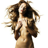 Nude woman with magnificent hair — Photo