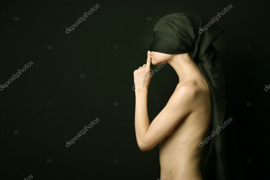 Naked (nude) woman with black bandage — Foto Stock #2724955