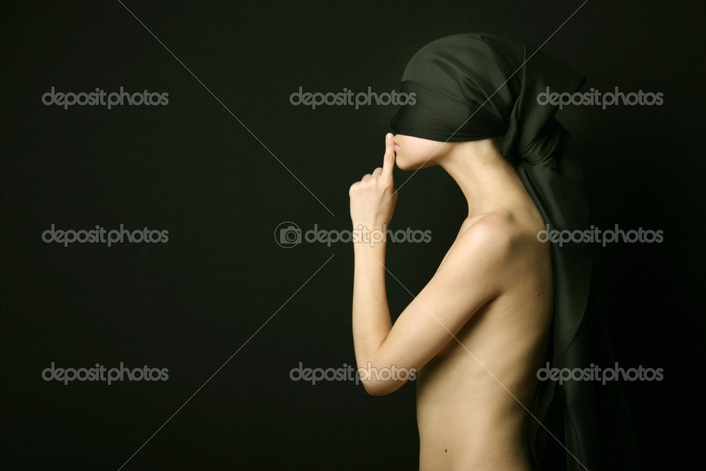 Naked (nude) woman with black bandage — Stock Photo #2724955