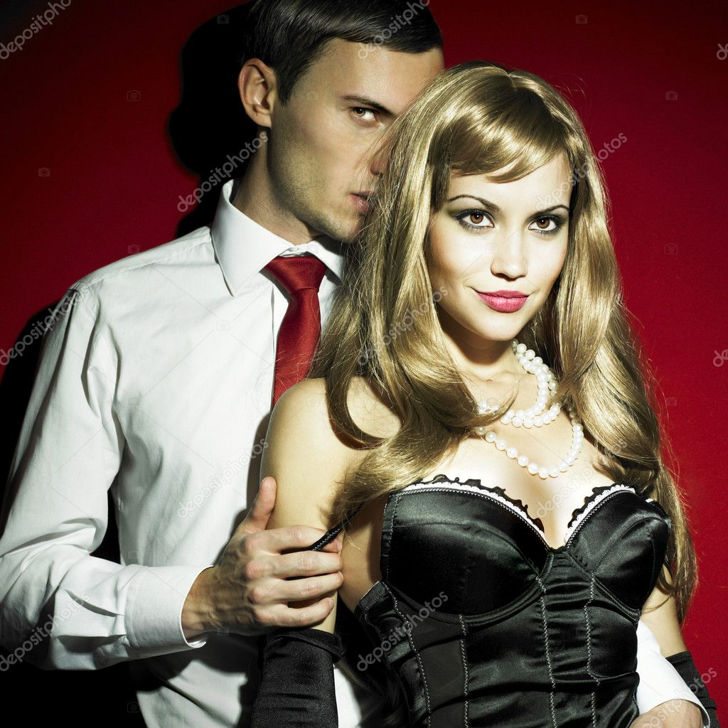 Two young lovers in expensive sexual clothes — Foto Stock #2728556