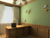 3D render classic interior of cabinet — Stock Photo