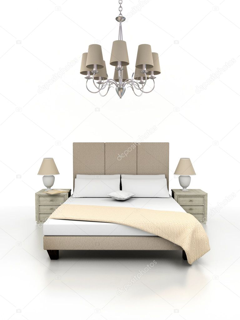 3D render. classic bed isolated on white background. — Stock Photo #2786863