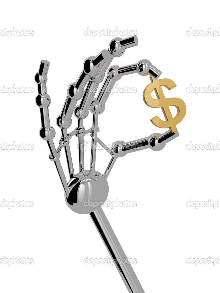 3D render. Hand of robot isolated on white background. — Stock Photo #2786881