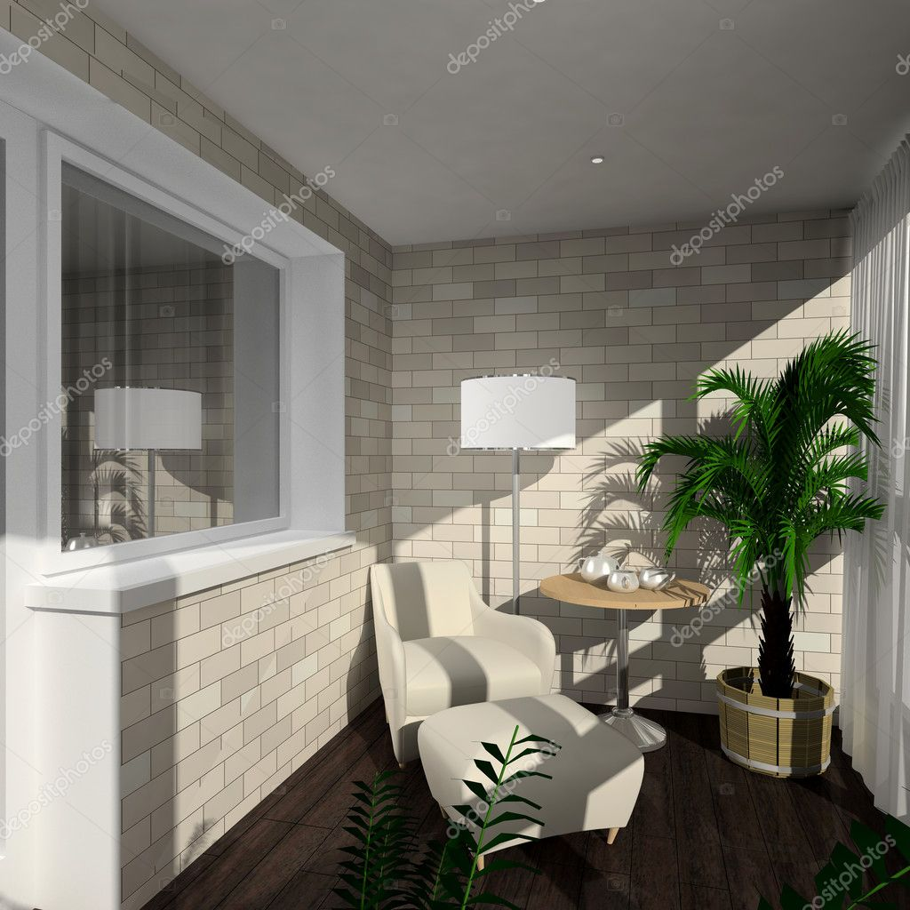 Modern design interior of verandah. 3D render  Stock Photo #2787468