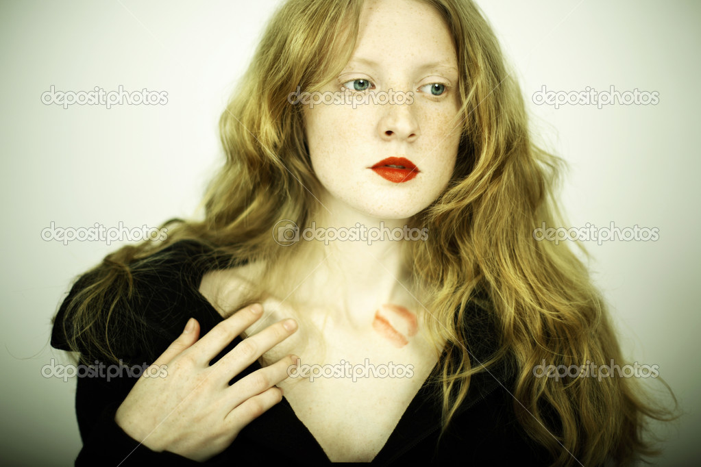 Fashion photo of charming red girl with freckles  Stock Photo #2789446