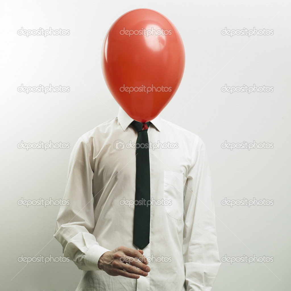 Fashion portrait of office manager with head - balloon  Stock Photo #2800508
