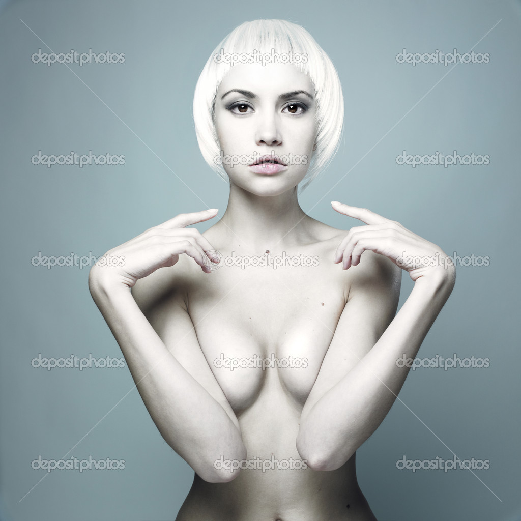 Photo of futuristic nude woman with blond hair  Stock Photo #3282309