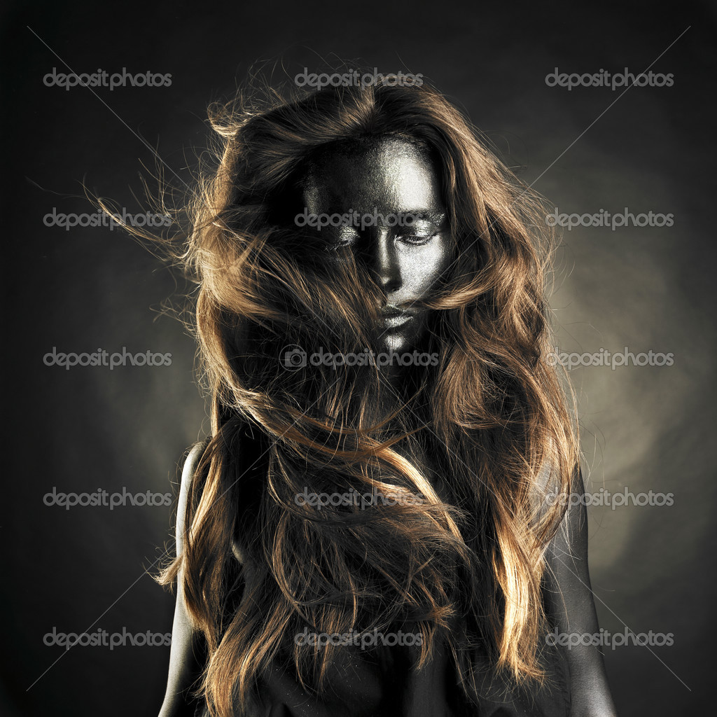 Portrait of beautiful woman with black skin  Stock Photo #3403998
