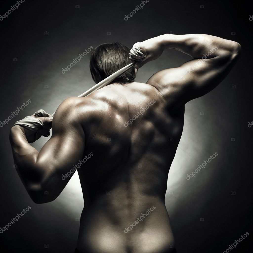 Poto of naked athlete with strong body — Stock Photo #3474544