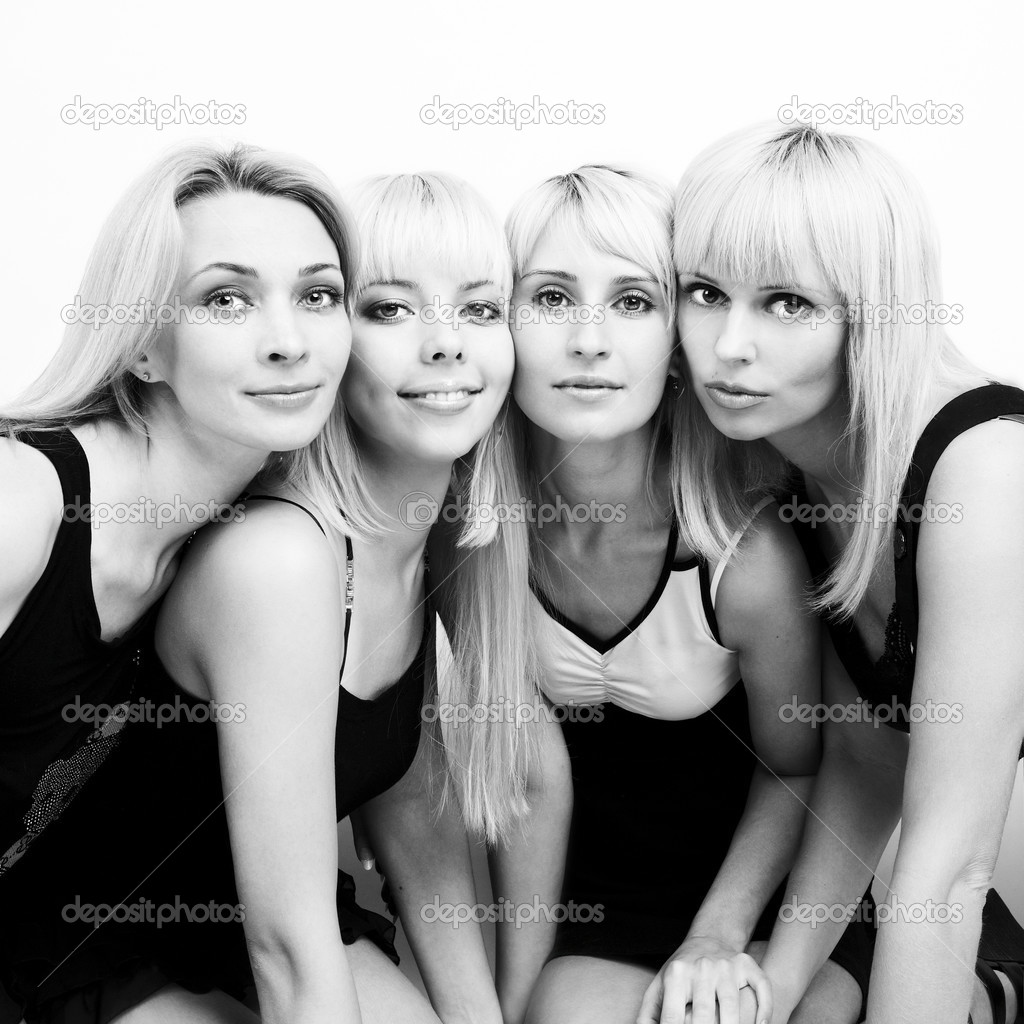 Studio photo of four young beautiful women — Stock Photo #3474560