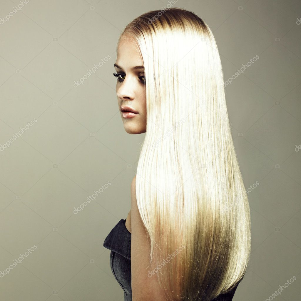 Photo of beautiful woman with magnificent hair  Stockfoto #3492388