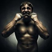 Fierce athlete — Stock Photo