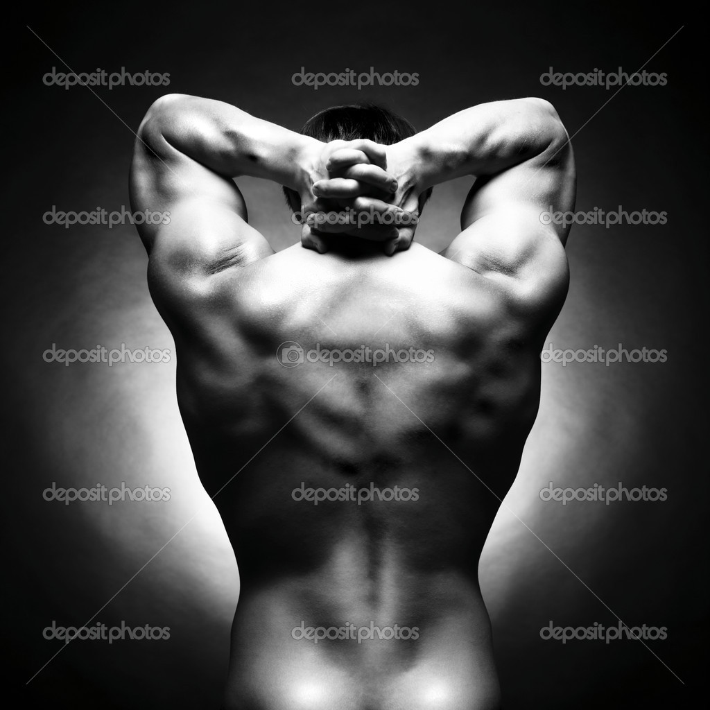 Poto of naked athlete with strong body — Stok fotoğraf #3560450