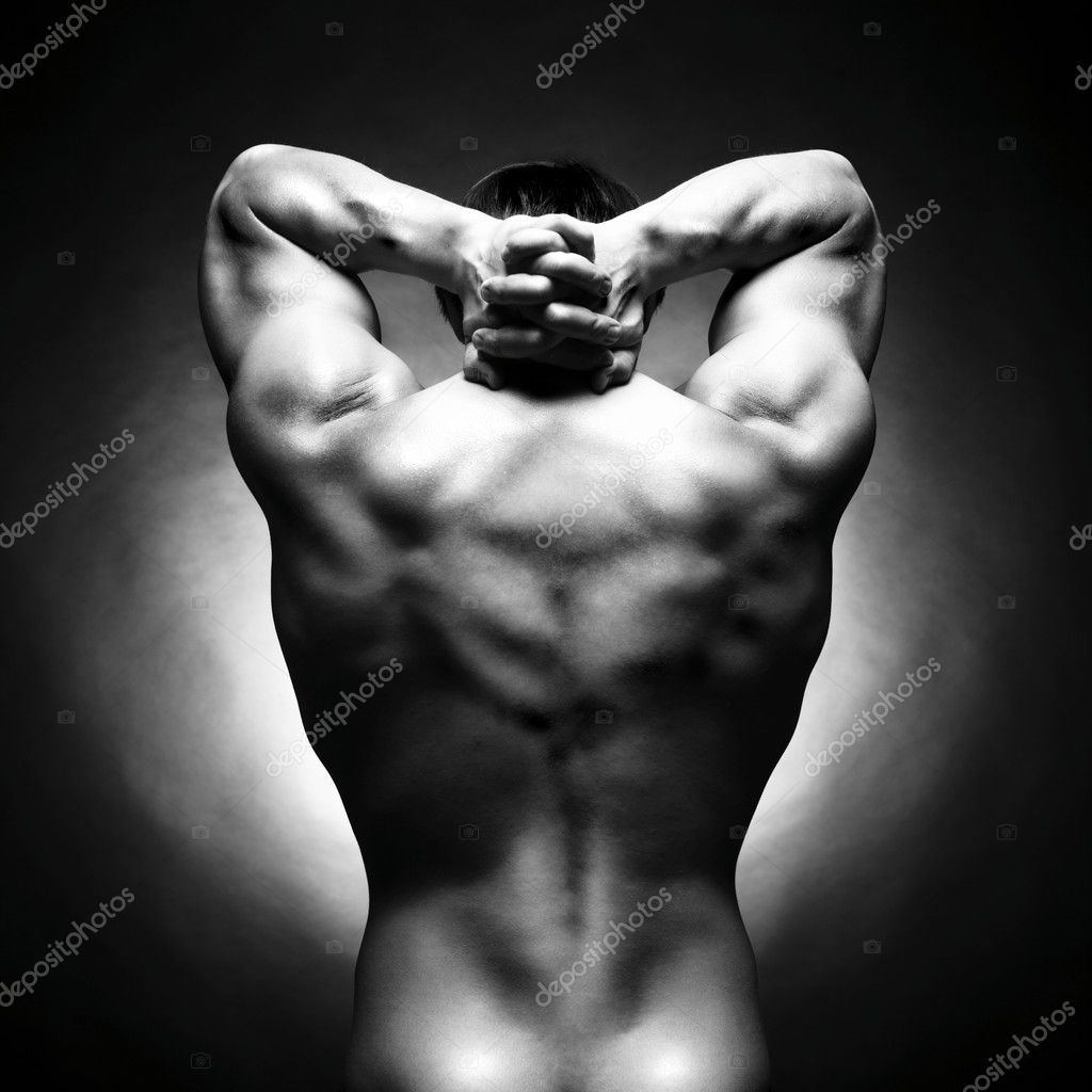 Poto of naked athlete with strong body — Stock fotografie #3560450