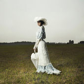 Woman in vintage dress — Fotografia Stock
