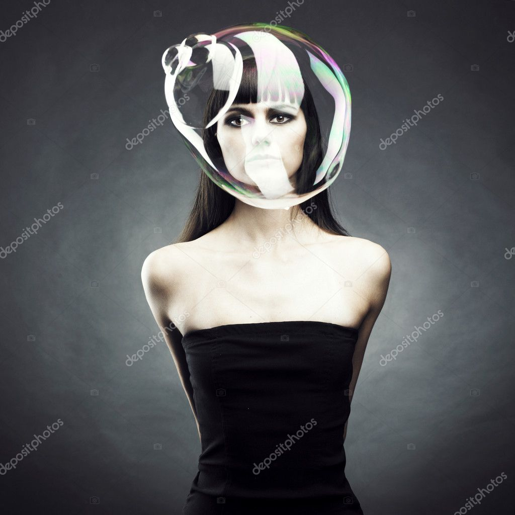 Beautiful woman with big soap bubble. Conceptual photo — Stock Photo #3761757