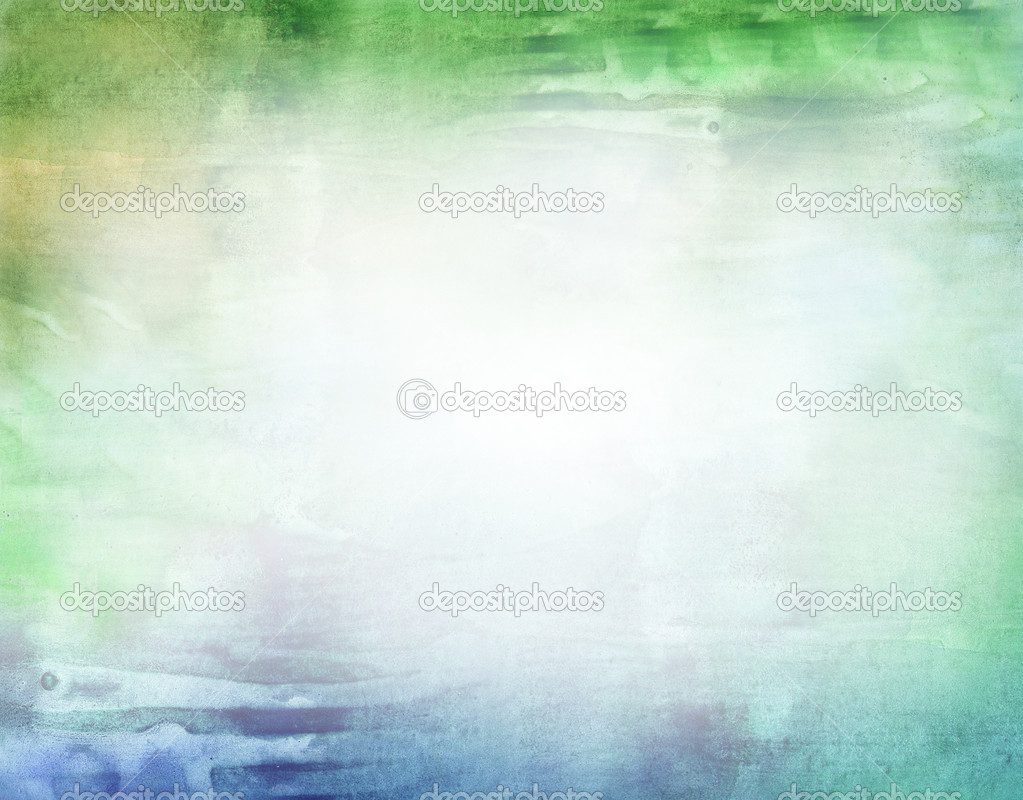 Beautiful watercolor background in soft white, green and blue- Great for textures and backgrounds for your projects!  Stock Photo #3403778