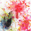 Beautiful watercolor paint splatters in vibrant red, yellow and green — Stock Photo