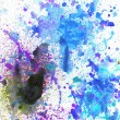 Beautiful watercolor paint splatters in soft blue, purple and green — Stock Photo