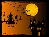怖いハロウィーンの夜 — ストックベクタ