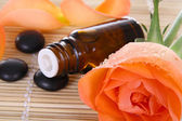 Bottle of essential oil and rose — Stock Photo