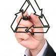 Businessman drawing recycling symbol — Stock Photo