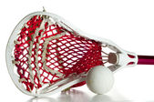 White Lacrosse Head with Red Meshing and Grey Ball — Stock Photo