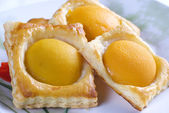 A sweet puff pastry peach — Stock Photo