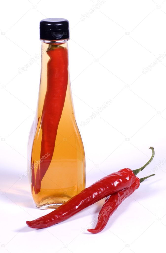 Flasks of Olive Oil and Red Chilli Peppers  Stock Photo #2815428