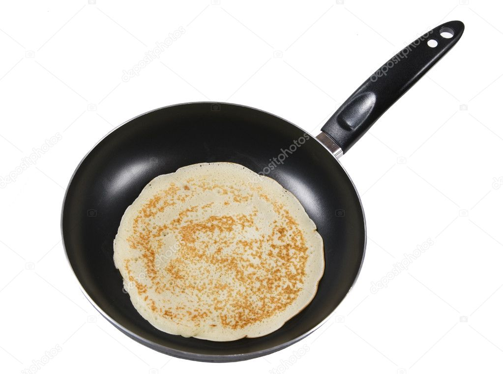 Frying a pancake cooking in a pan — Stock Photo © sarka1 ...
