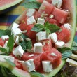 Watermelon and feta cheese salad — Stock Photo