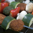 Freshly grilled Shish Kebabs. Grill pan — Stock Photo #2882846