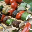 Freshly grilled Shish Kebabs. Grill pan — Stock Photo
