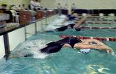 Swimmers start — Stock Photo