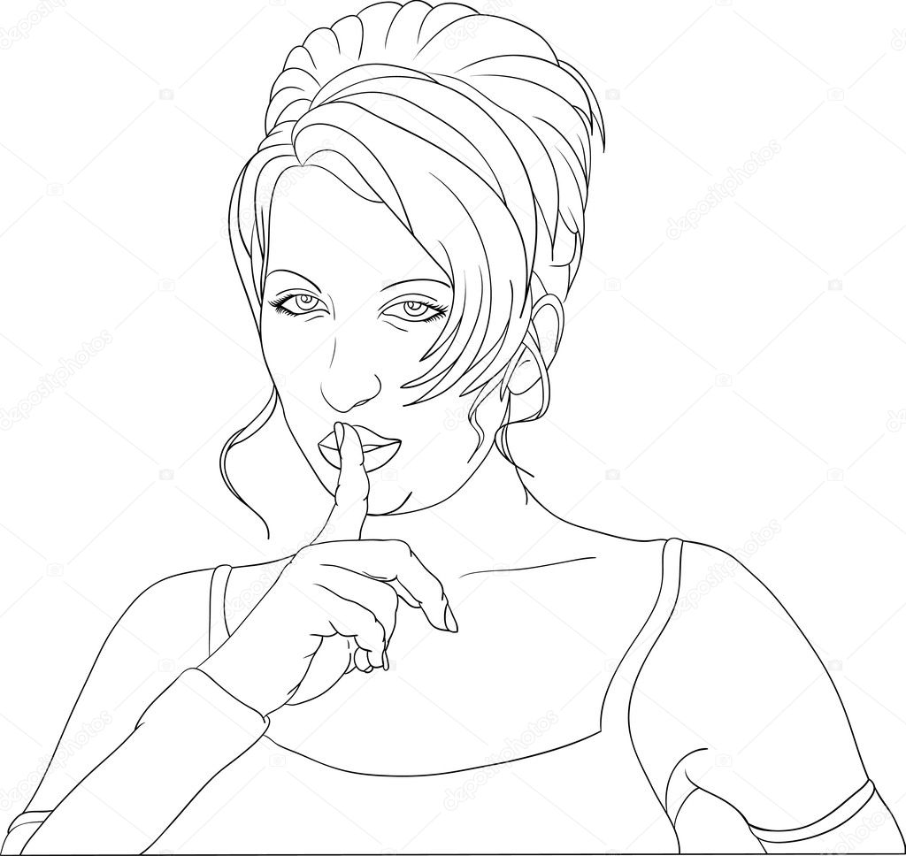 Vector -  women gesture keep silence  — Stock Vector #2742692