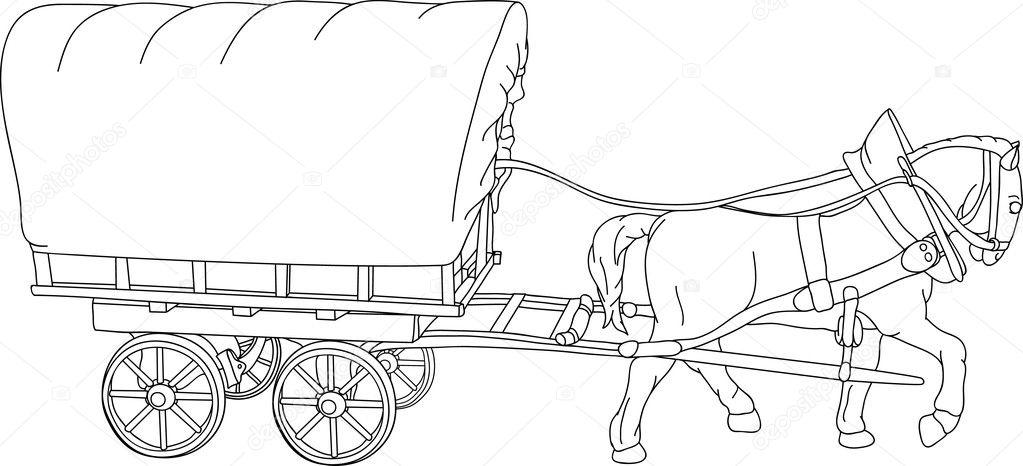 Kleurplaat Frederik Horse Cart Stock Vector 169 Pavelmidi 3158181