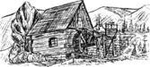 Water mill — Stock Vector