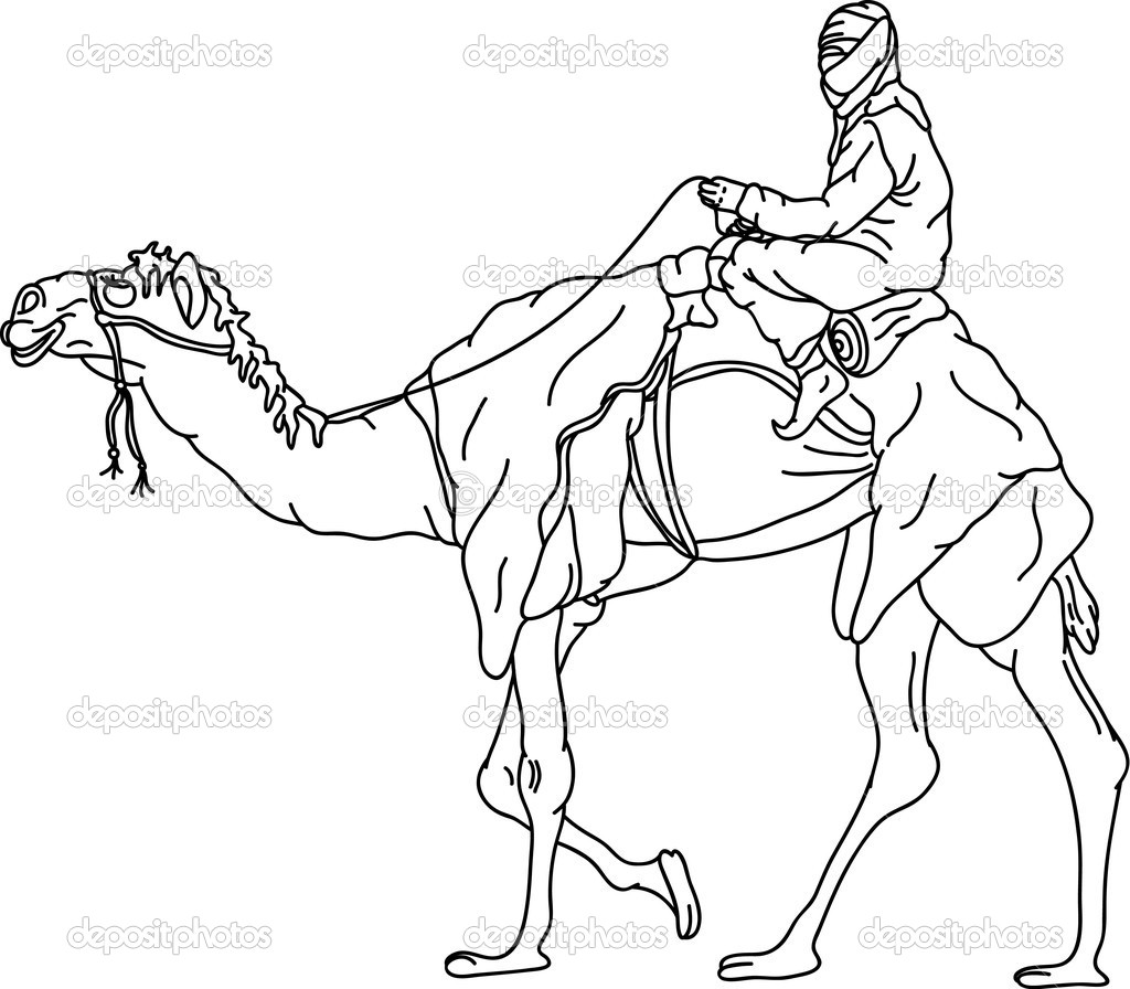 Vector - bedouin riding a camel,isolated on background — Stock Vector #3761465