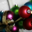Christmas ornaments and gold ribbon — Stock Photo #2715431