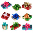 Collage of Nine colorful presents — Foto de Stock