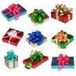 Collage of Nine colorful presents - Stockfoto