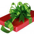 Red present with green ribbons — Stock Photo #2719921
