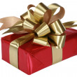 Red present with gold bow — Stock Photo #2719972