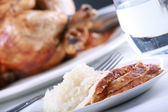 Chicken and rice meal — Stock Photo