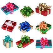 Collage aus neun bunte geschenke — Stockfoto